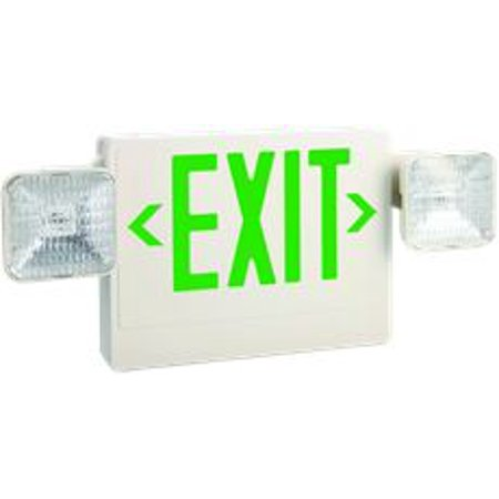 Monument Exit And Led Emergency Light Combination, Single Face With Green Exit Letters, 6-Watts, 6 Volts