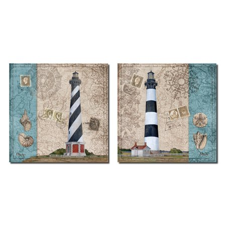 Harbor Point Lighthouse I Nautical Theme Lighthouse Seashells Stamps; Coastal Decor; Two 12x12 Poster Prints. Red/Blue/White/Beige - Nautical Themed Decor