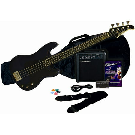 Silvertone Revolver Bass Guitar Package with Instructional DVD, Cobalt Blue