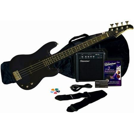 Silvertone Revolver Bass Guitar Package with Instructional DVD, Cobalt Blue