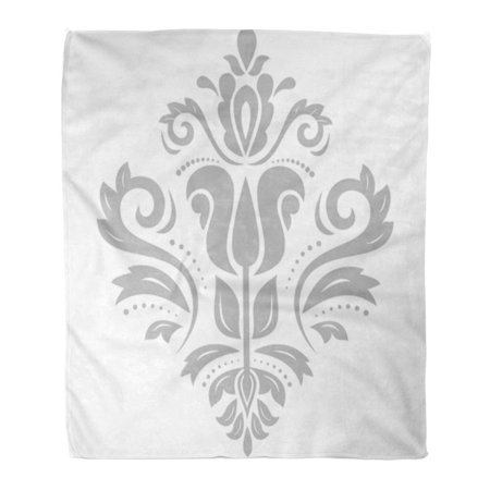 KDAGR Throw Blanket Warm Cozy Print Flannel Gray Medallion Damask Floral Silver Pattern Oriental Abstract Traditional Comfortable Soft for Bed Sofa and Couch 50x60 Inches