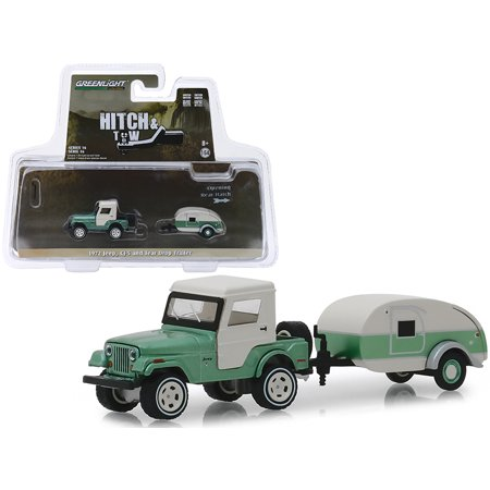 1972 Jeep CJ-5 Half-Cab and Teardrop Trailer Metallic Green and Cream 1/64 Diecast Models by