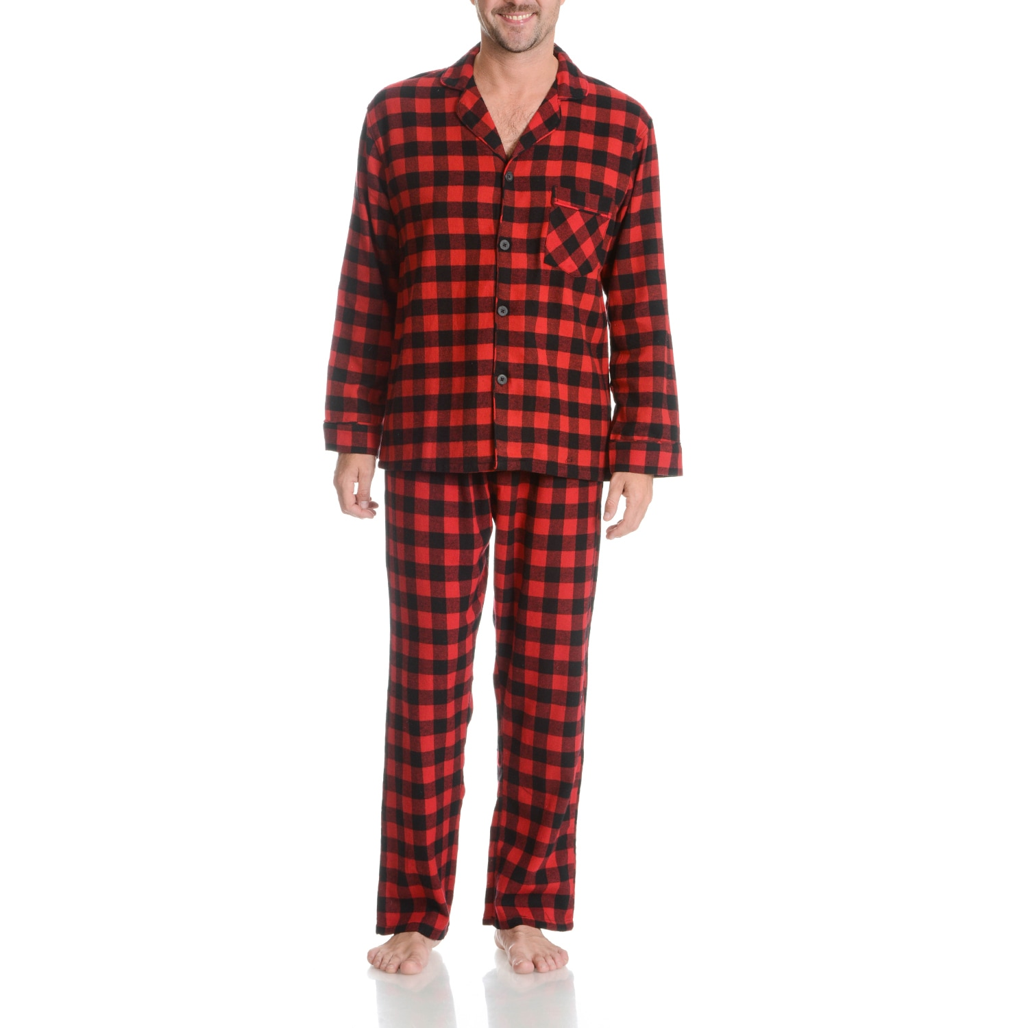 Hanes  Men's Red and Black Plaid Cotton 2-piece Woven Fla...