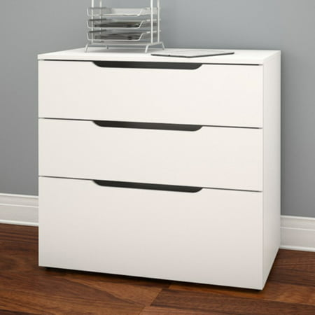 Nexera 3 Drawer Vertical Wood Filing Cabinet, White ()