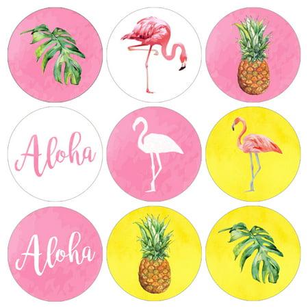 Flamingo Party Decoration Stickers 216ct - Flamingo Pineapple Party Decor Supplies Candy Favors (Flamingo Decorations)