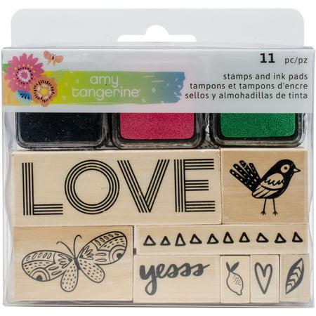 Amy Tan Sunshine & Good Times Wood Mounted Stamp Set-8 Stamps & 3 Mini Ink (Wood Stamping)