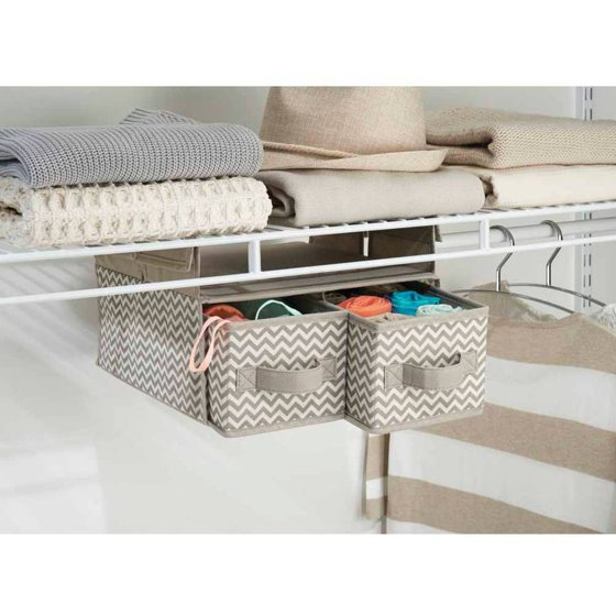 InterDesign Chevron Fabric Hanging Closet Storage Organizer 2 Drawers For Wire Shelving Taupe