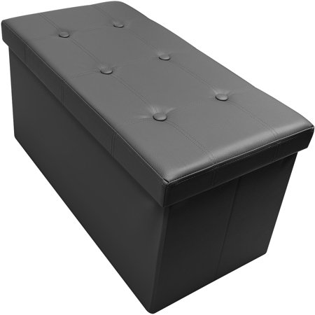 Sorbus? Storage Bench Chest? Collapsible/Folding Bench Ottoman with Cover?Perfect Hope Chest, Pouffe Ottoman, Coffee Table, Seat, Foot Rest, and more?Contemporary Faux leather (Small - Black)