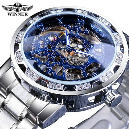 WINNER Men Automatic Watch Fashion Diamond Display Luminous Hands Gear Movement Retro Mechanical Skeleton Watches Luxury Casual Business Wristwatch ()