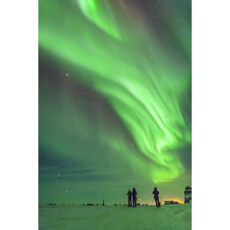The Aurora Borealis Of February 3 4 2014 Seen From Churchill Manitoba Canada Looking West To Orion And Taurus With Tour Group Members Taking In The Sight Poster Print