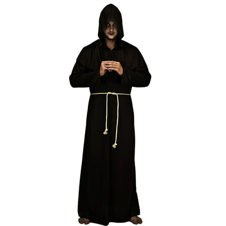 Medieval Priest Monk Robe Hooded Cap Halloween Cosplay Costume Cloak for Wizard Sorcerer - Size XL (Black) (Medieval Costumes For Children)