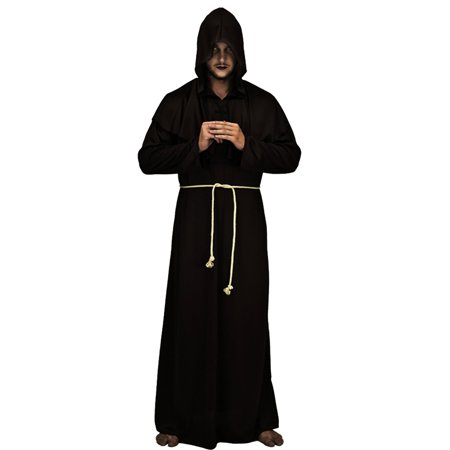 Medieval Priest Monk Robe Hooded Cap Halloween Cosplay Costume Cloak for Wizard Sorcerer - Size XL (Black)
