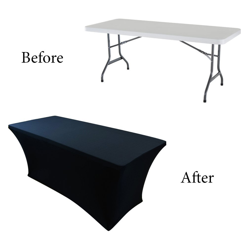 Houseables Black Table Cloths, Fitted Tablecloth Cover, 6 Ft, Black,  Rectangular Skirts, Polyester/Spandex, Elastic, Stretchable Linen, Stain U0026  Wrinkle ...