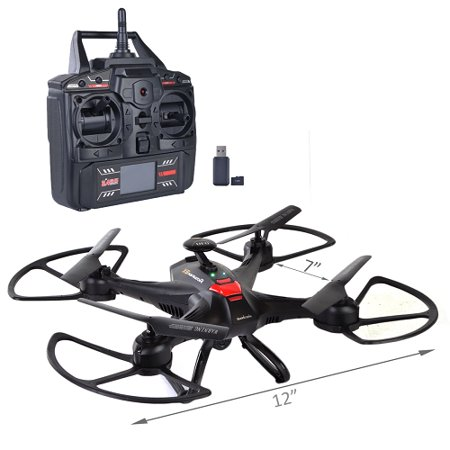 Buy Now 7″ Quadcopter Drone 6 Axis Gyro w/HD Camera LED Lights & Flip 4-Ch 2.4GHz-Black Before Special Offer Ends