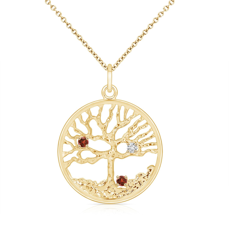 January Birthstone Pendant Necklaces Garnet & Diamond Family Tree Pendant for Mom in 14K Yellow Gold (2.5mm Garnet)... by Angara.com