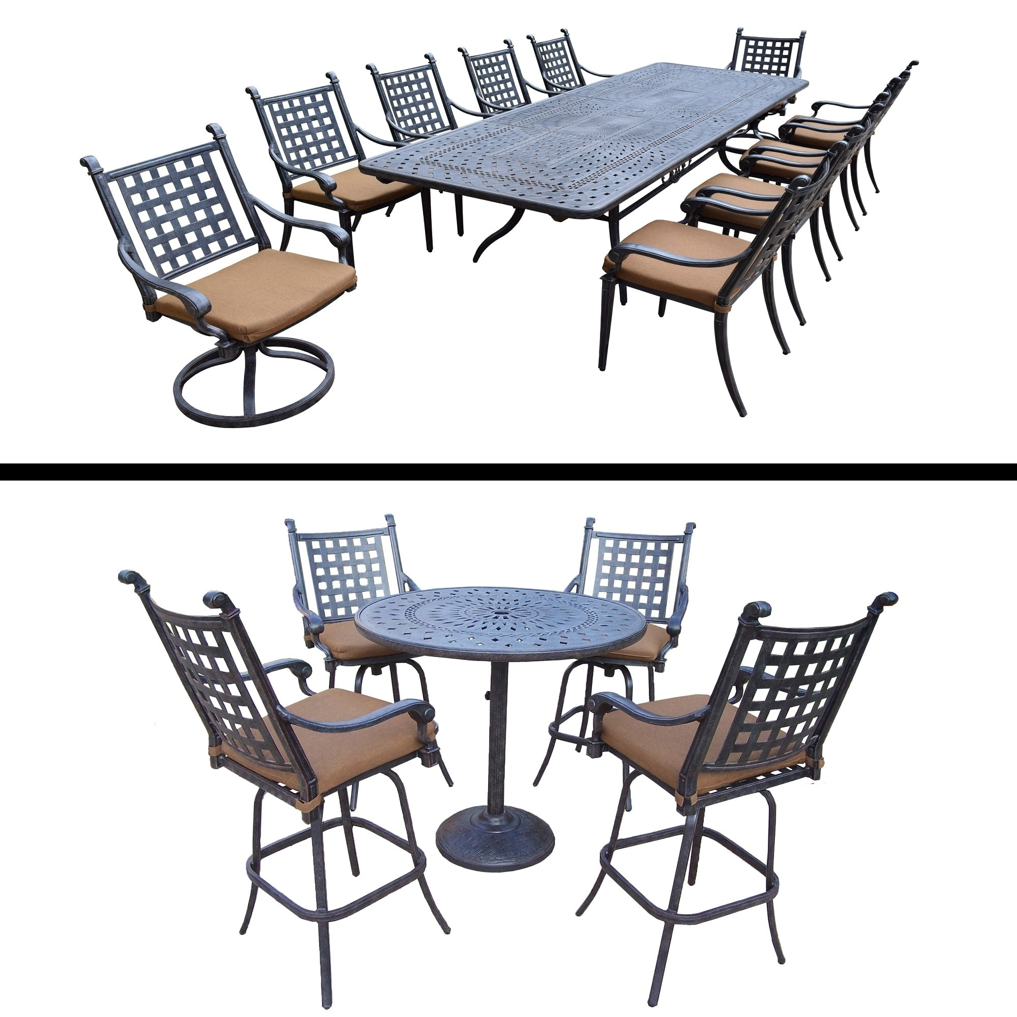 Oakland Living 11 Pc Dining Room Set with Extendable Table and 5 Pc Bar Set by Overstock