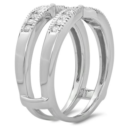 Dazzlingrock Collection 0.35 Carat (ctw) 14K Round Cut Diamond Millgrain Wedding Guard Double Ring 1/3 CT, White Gold, Size 9 14k Leverback Ring