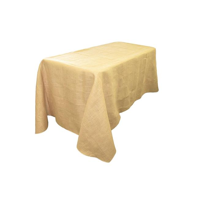 LA Linen TCBurlap90x132-Natural Rectangular Burlap Tablecloth, Natural 90 x 132 in. by