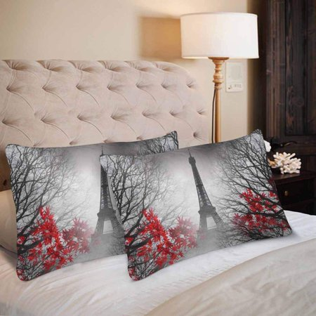 GCKG Eiffel Tower in Paris Autumn Leaves Pillow Cases Pillowcase 20x30 inches Set of 2 Fall France City - image 2 of 4