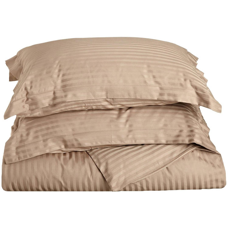 Superior 300 Thread Count Long-Staple Combed Cotton Stripe Duvet Cover Set