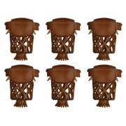 Set of 6 Leather Billiard Pool Table  Pockets W/ Irons Carmel