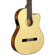 Kala KA-GTR-SMTN-E Thinline Nylon String Acoustic-Electric Guitar Natural