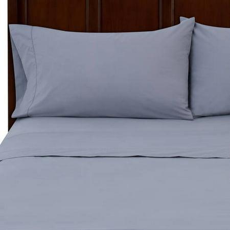 Mainstays 250 Thread Count Queen Blue Bed Sheet Set, 1 Each