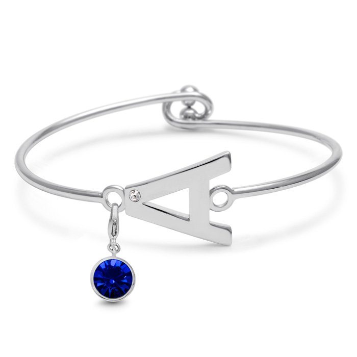 Initial Bangle Bracelet With White Crystal and Sapphire Crystal Birthstone, For September Babies by SuperJeweler