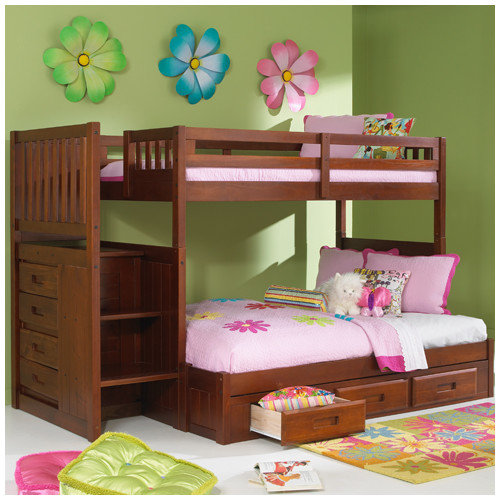 Discovery World Furniture Weston Twin Over Full Storage standard Customizable Bedroom Set