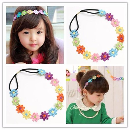 Bare Feet Embroidered Headband - Baby Girl Kids Embroidered Flowers Headband Hair Accessories Headwear