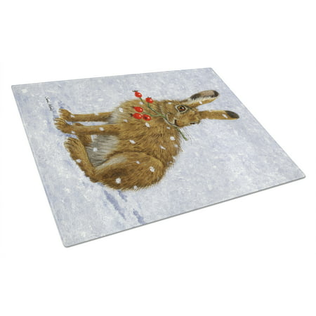 Rabbit Hare & Rosehips Glass Cutting Board Large