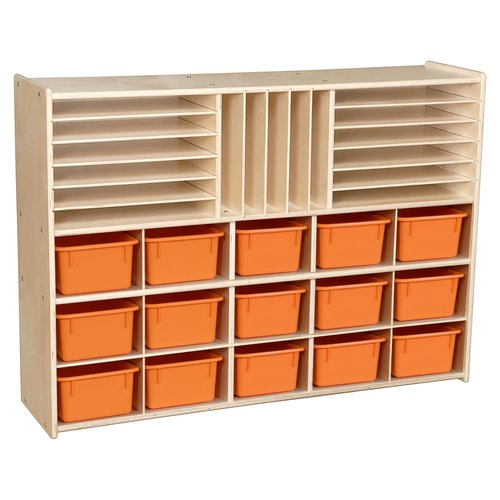 Wood Designs Multi-Storage 15 Compartment Cubby with Trays