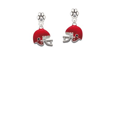 Small Red Football Helmet - Clear Crystal Paw Earrings - Small Football Helmets
