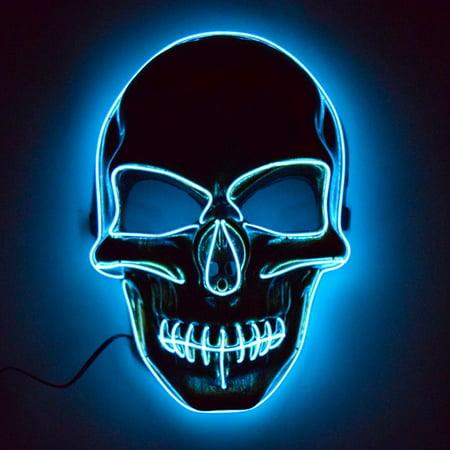 Light Up EL Wire Skull Mask - Light Up Skull