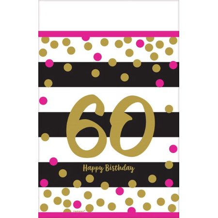 - Over the Hill 'Hot Pink and Gold' 60th Birthday Plastic Table Cover (1ct)