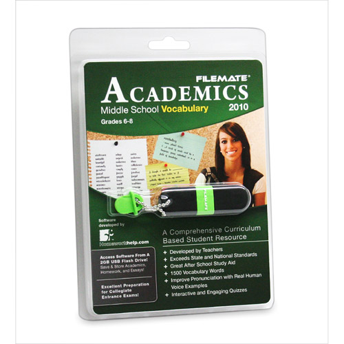 FileMate Academics Middle School Vocabulary 2010 2GB USB Drive Educational Software