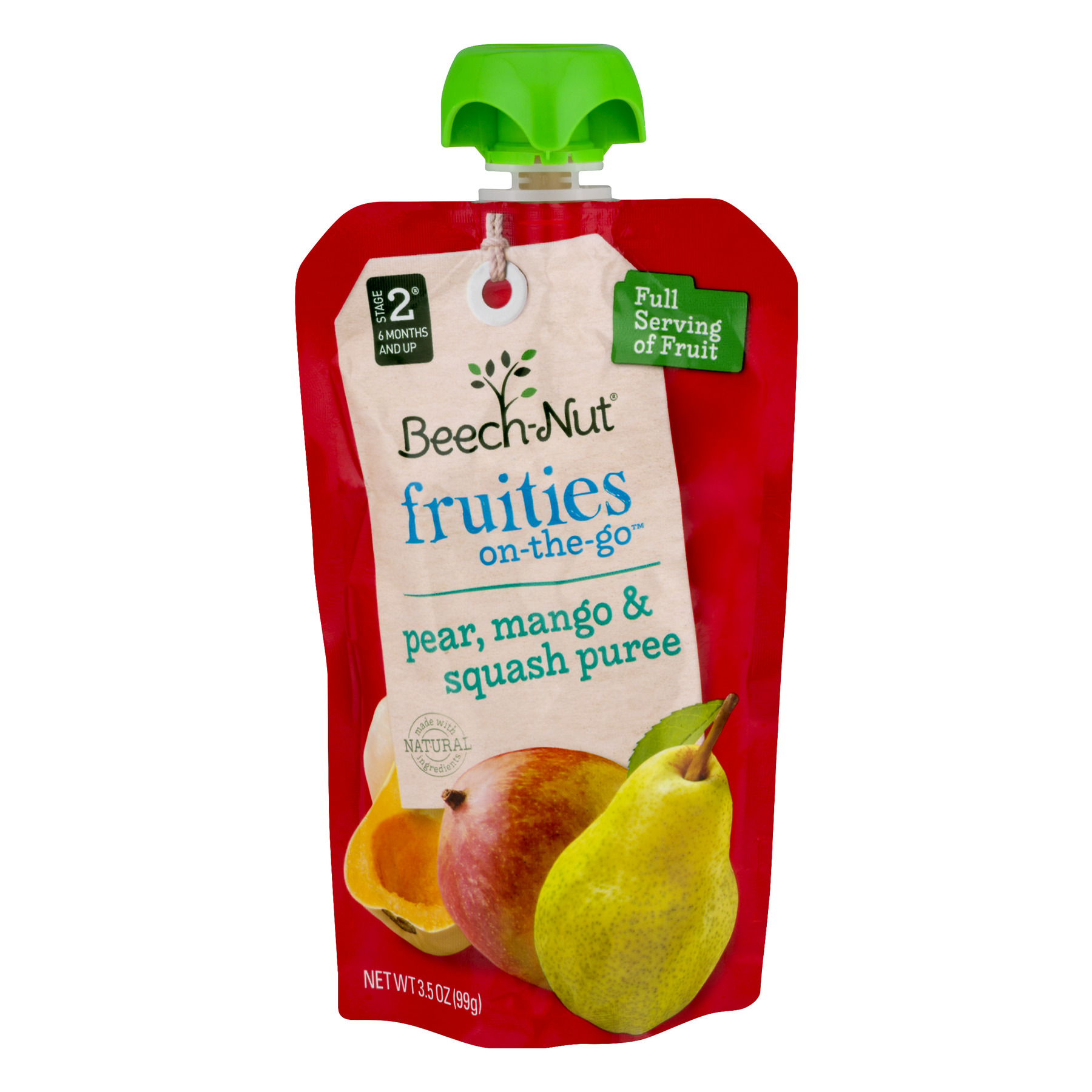 (5 Pack) Beech-Nut Stage 2 Fruities On-The-Go Pear, Mango & Squash Puree, 3.5 OZ