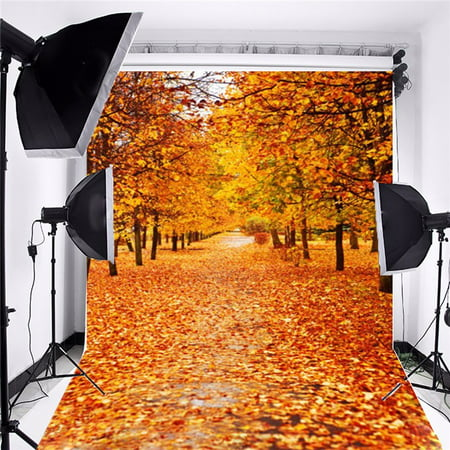 5x7FT Photography Backdrop Background Vinyl Fabric Cloth Photo Studio Props Equipment Multi-style Autumn Fall Forest Wood Floor Christmas (Best Lighting Equipment For Indoor Photography)