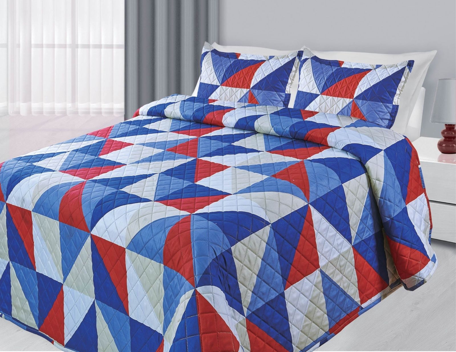 3-Piece Reversible Quilted Printed Bedspread Coverlet Blue & Red Geometric King Size by