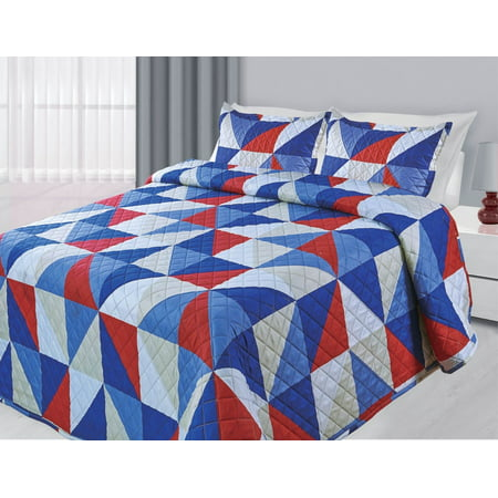 3-Piece Reversible Quilted Printed Bedspread Coverlet Blue & Red Geometric - Queen