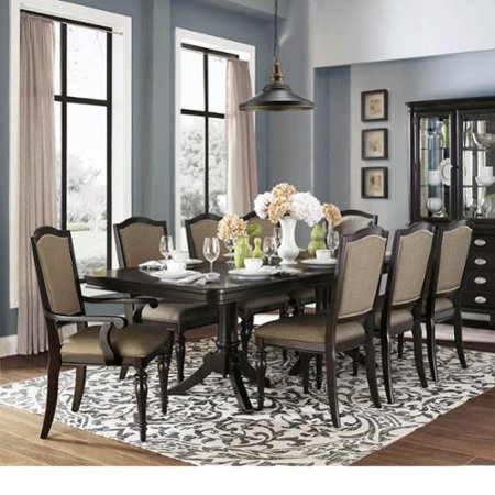 TRIBECCA HOME 'LaSalle' Espresso Pedestal Extending Table Dining Set [7-Piece]- Faux Alligator- 4 Side + 2 Arm Chairs