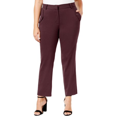 Womens Professional Collection (Ny Collection Merlot Women's Plus Ankle Dress Pants )