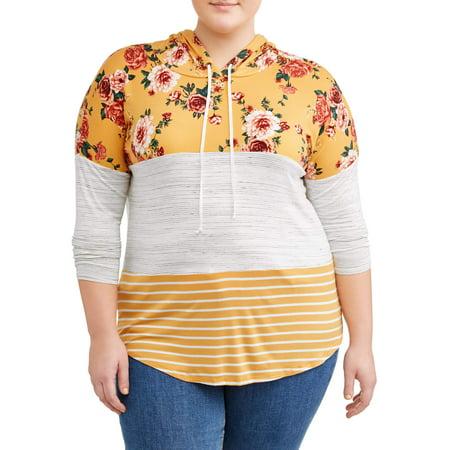 Women's Plus Size Mixed Print Colorblock Hoodie - Plus Size Hello Kitty Hoodie