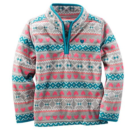 OshKosh B'gosh Baby Girls' Quarter-Zip Fleece Cozies - Fun Fair Isle - 6 Months](Fairisle Tunic)