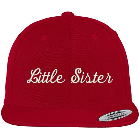 7507c19dbd094 Trendy Apparel Shop Little Sister Embroidered Flat Bill Snapback Cap - Black  - Walmart.com