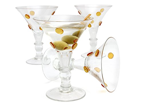 GAC Large Martini Glasses Set of 4 Cocktail Glasses for Martini Set, Beautiful Colored... by Corona Treasures
