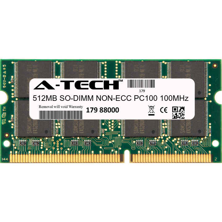512MB Module PC100 100MHz NON-ECC SD SO-DIMM Laptop 144-pin Memory Ram