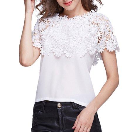 VICOODA Plus Size Women Off Shoulder Tops Chiffon Floral Print Lace Top Short Sleeve Crochet T Shirts Casual Summer Blouse