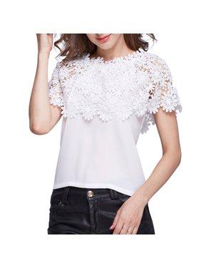 406aa512f1fcbb Product Image VICOODA Plus Size Women Off Shoulder Tops Chiffon Floral Print  Lace Top Short Sleeve Crochet T
