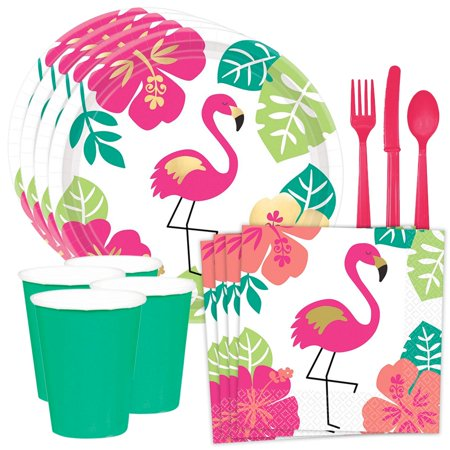 Aloha Flamingo Standard Tableware Kit (Serves 8)](Aloha Party Supplies)